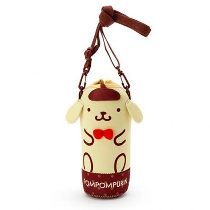 小禮堂 布丁狗 造型潛水布斜背寶特瓶套 水壺袋 環保杯袋  500-600ml (黃棕)