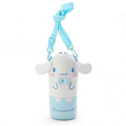 小禮堂 大耳狗 造型潛水布斜背寶特瓶套 水壺袋 環保杯袋  500-600ml (藍白)