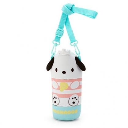 小禮堂 帕恰狗 造型潛水布斜背寶特瓶套 水壺袋 環保杯袋  500-600ml (綠白)