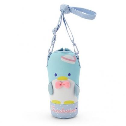 小禮堂 山姆企鵝 造型潛水布斜背寶特瓶套 水壺袋 環保杯袋  500-600ml (藍粉)
