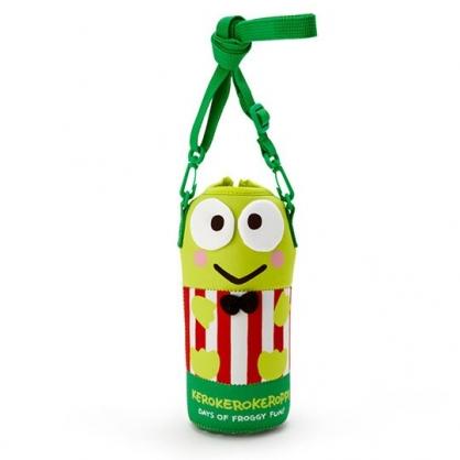 小禮堂 大眼蛙 造型潛水布斜背寶特瓶套 水壺袋 環保杯袋  500-600ml (綠紅)