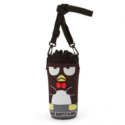 小禮堂 酷企鵝 造型潛水布斜背寶特瓶套 水壺袋 環保杯袋  500-600ml (黑)