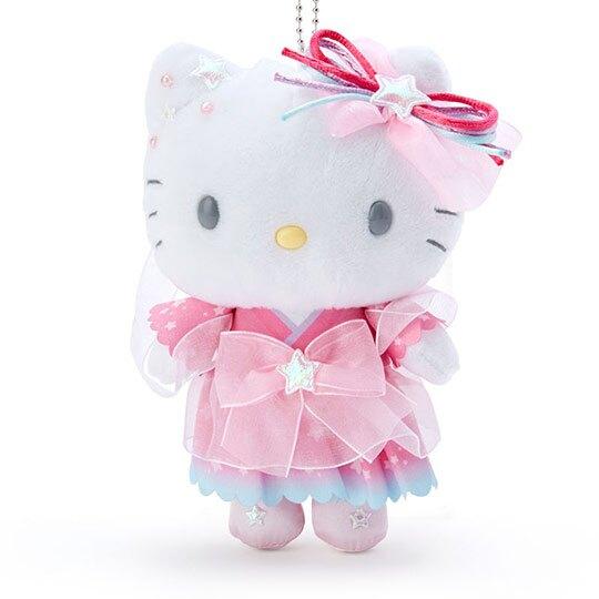 小禮堂 Hello Kitty 絨毛吊飾 娃娃吊飾 七夕掛飾 鑰匙圈 (粉白 2020浪漫七夕)