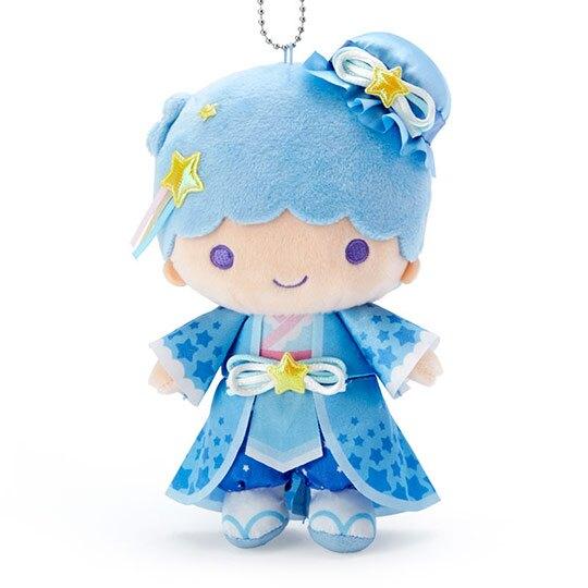 小禮堂 雙子星KIKI 絨毛吊飾 娃娃吊飾 七夕掛飾 鑰匙圈 (藍 2020浪漫七夕)