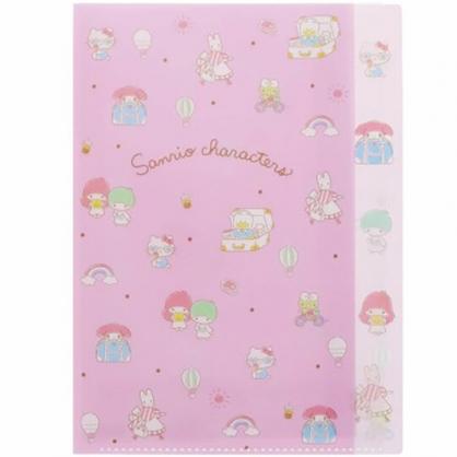 小禮堂 Sanrio大集合 A4分類文件夾 資料夾 檔案夾 L夾 (粉 滿版)