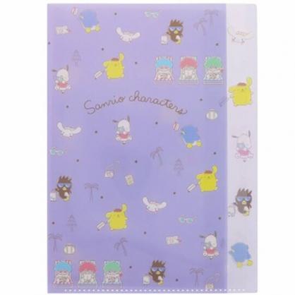 小禮堂 Sanrio大集合 A4分類文件夾 資料夾 檔案夾 L夾 (紫 滿版)
