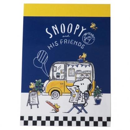 小禮堂 史努比 日製 迷你便條本 便條紙 備忘錄 (藍黃 餐車)