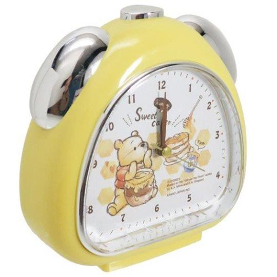 小禮堂 迪士尼 小熊維尼 三角形鬧鐘 指針鬧鐘 桌鐘 時鐘 (米黃 素描風)