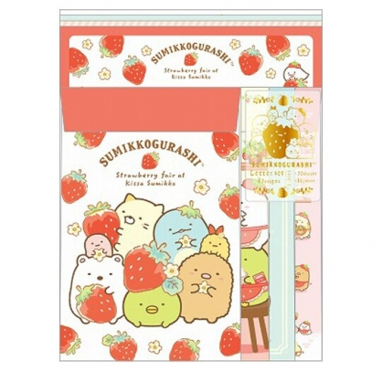 小禮堂 角落生物 日製 信紙組 信封 萬用卡片 便條紙 (紅白 草莓)