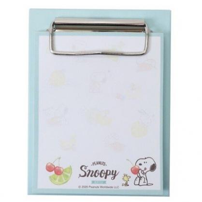 小禮堂 史努比 迷你文件夾板附便條紙 資料板夾 備忘錄 (綠白 水果)