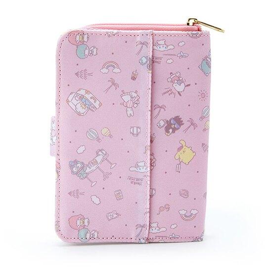 小禮堂 Sanrio大集合 尼龍多功能收納包 面紙零錢包 小物收納包 (粉 滿版)