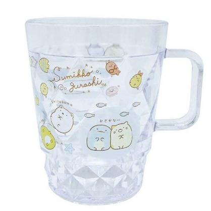 小禮堂 角落生物 菱格紋單耳塑膠杯 兒童水杯 壓克力杯 280ml (白 貝殼)