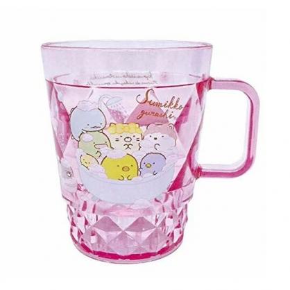 小禮堂 角落生物 菱格紋單耳塑膠杯 兒童水杯 壓克力杯 280ml (粉 洗澡)