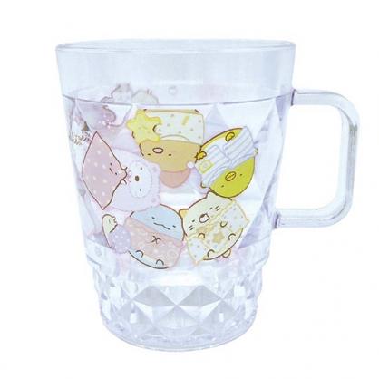 小禮堂 角落生物 菱格紋單耳塑膠杯 兒童水杯 壓克力杯 280ml (白 睡衣)