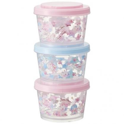 小禮堂 雙子星 日製 迷你圓形塑膠保鮮盒組 透明保鮮盒 微波便當盒 240ml (3入 粉 獨角獸)