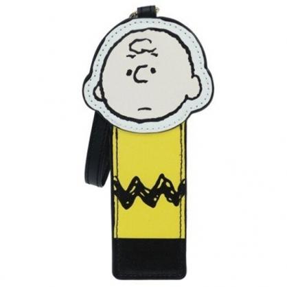 小禮堂 史努比 查理布朗 全身造型皮質收納包附鏡 口紅收納包 零錢包 (黃黑)