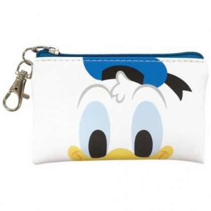 小禮堂 迪士尼 唐老鴨 皮質扁平零錢包 吊飾零錢包 小物收納包 (藍白 大臉)