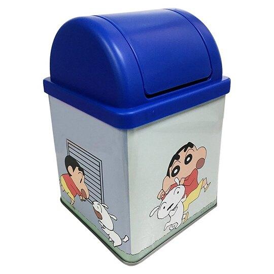 小禮堂 蠟筆小新 日製 桌上型平衡蓋垃圾桶 鐵垃圾桶 紙屑筒 (藍 小白玩)