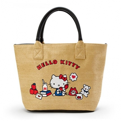 小禮堂 Hello Kitty 藤編側背包 編織手提包 海灘包 (深棕 2020夏日服飾)