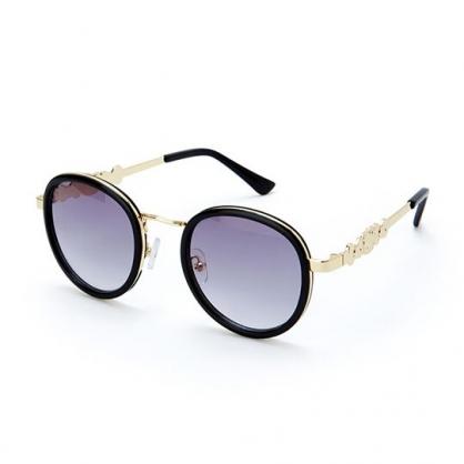 小禮堂 Hello Kitty 圓框抗UV太陽眼鏡 墨鏡 防曬眼鏡 (黑金 2020夏日服飾)