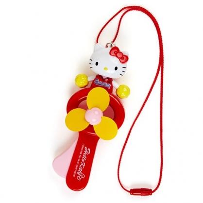小禮堂 Hello Kitty 軟葉片手持電風扇 隨身風扇 手動風扇 附頸掛繩 (紅黃 啦啦隊)