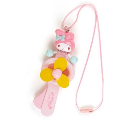 小禮堂 美樂蒂 軟葉片手持電風扇 隨身風扇 手動風扇 附頸掛繩 (粉黃 啦啦隊)