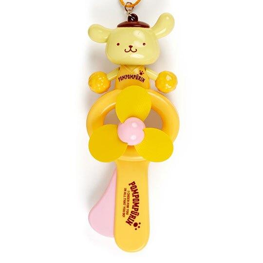 小禮堂 布丁狗 軟葉片手持電風扇 隨身風扇 手動風扇 附頸掛繩 (黃 啦啦隊)