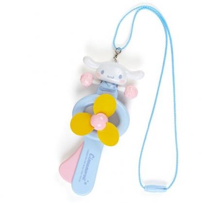 小禮堂 大耳狗 軟葉片手持電風扇 隨身風扇 手動風扇 附頸掛繩 (藍黃 啦啦隊)