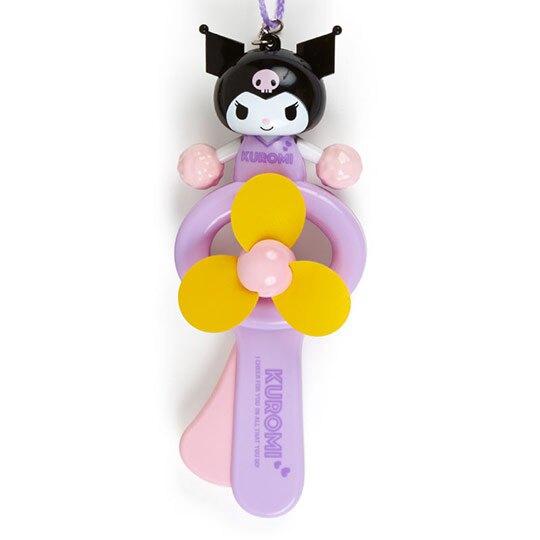 小禮堂 酷洛米 軟葉片手持電風扇 隨身風扇 手動風扇 附頸掛繩 (紫黃 啦啦隊)