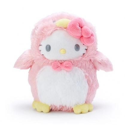小禮堂 Hello Kitty 企鵝裝絨毛玩偶 沙包娃娃 布偶 (S 粉白)
