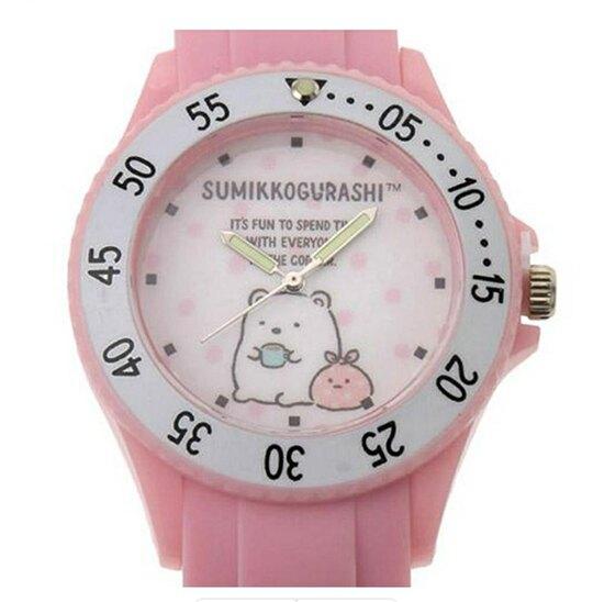 小禮堂 角落生物 北極熊 矽膠錶帶兒童手錶 運動手錶 休閒腕錶 透明盒裝 (粉 點點)