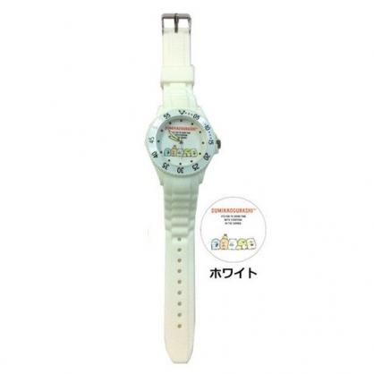小禮堂 角落生物 矽膠錶帶兒童手錶 運動手錶 休閒腕錶 透明盒裝 (白 排坐)