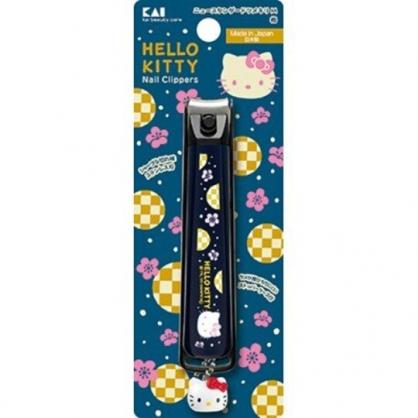 小禮堂 Hello Kitty 日製 指甲剪 指甲銼刀 附吊飾 (S 黑紫 櫻花)