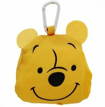 小禮堂 迪士尼 小熊維尼 折疊尼龍環保購物袋 環保袋 側背袋 (黃 大臉)