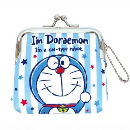 小禮堂 哆啦A夢 潛水布口金零錢包 吊飾零錢包 小物收納包 (藍白 直紋)