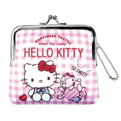 小禮堂 Hello Kitty 潛水布口金零錢包 吊飾零錢包 小物收納包 (粉 格紋)