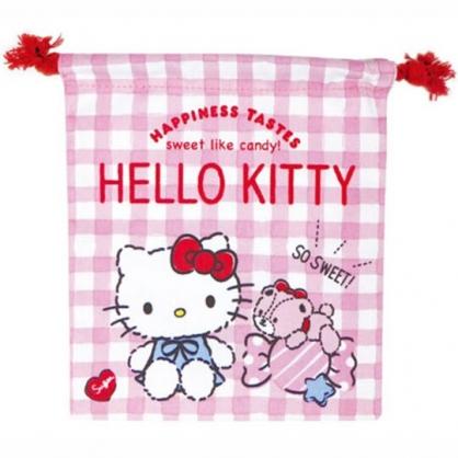 小禮堂 Hello Kitty 棉質束口袋 旅行收納袋 小物收納袋 (粉 格紋)