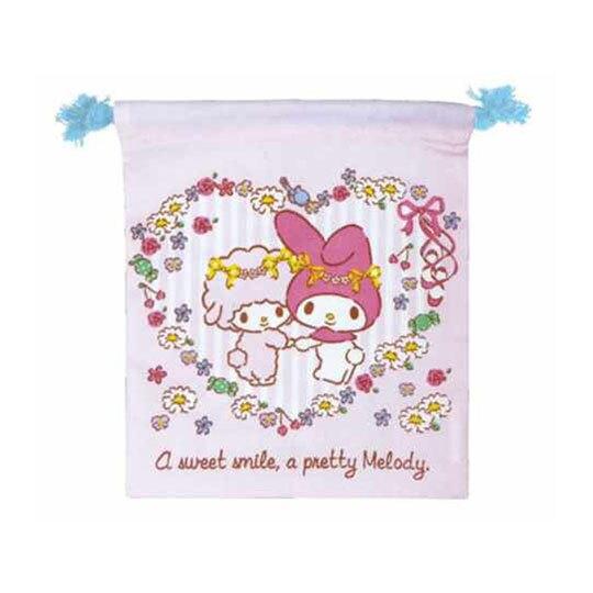 小禮堂 美樂蒂 棉質束口袋 旅行收納袋 小物收納袋 (粉 直紋)