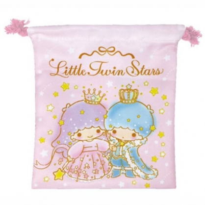 小禮堂 雙子星 棉質束口袋 旅行收納袋 小物收納袋 (粉綠 皇冠)