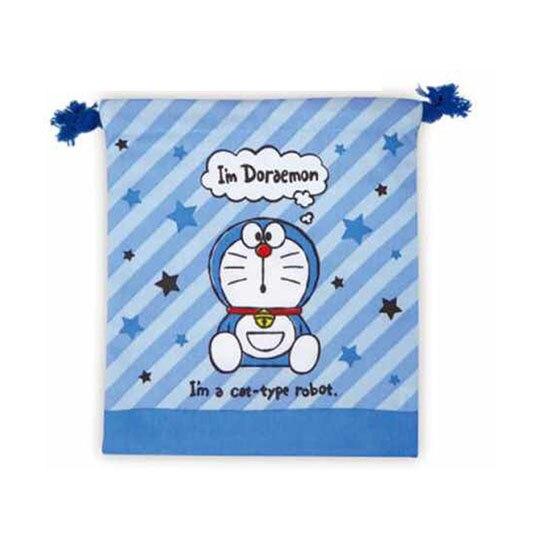 小禮堂 哆啦A夢 棉質束口袋 旅行收納袋 小物收納袋 (藍 斜紋)