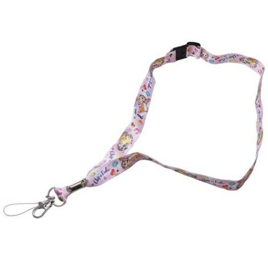 小禮堂 迪士尼 奇奇蒂蒂 多功能頸繩 尼龍頸掛繩 證件掛繩 證件帶 (紫白 水果)