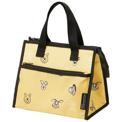 小禮堂 迪士尼 小熊維尼 方形尼龍保冷便當袋 餐袋 手提野餐袋 (黃黑 大臉滿版)