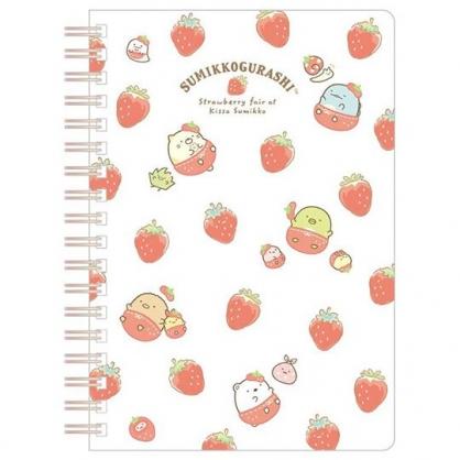 小禮堂 角落生物 日製 B6線圈筆記本 橫線記事本 日記本 (白 草莓)