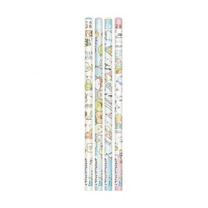 小禮堂 角落生物 日製 圓桿鉛筆組 2B鉛筆 木鉛筆 (4入 藍綠 露營)
