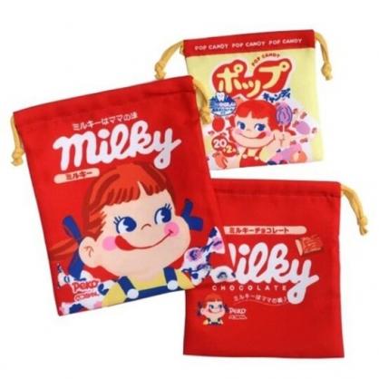 小禮堂 不二家PEKO 棉質束口袋組 旅行收納袋 小物收納袋 (3入 紅黃 糖果)
