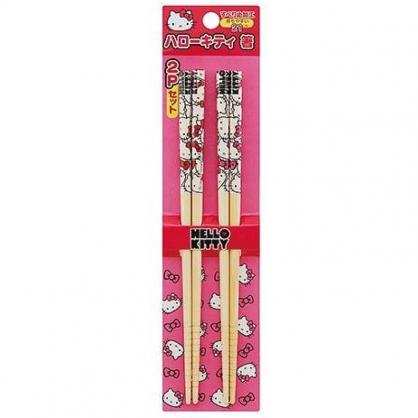 小禮堂 HelloKitty 木筷 竹筷 筷子 環保筷 兒童餐具 21cm (2入 紅粉 大臉)