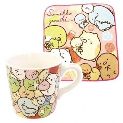 小禮堂 角落生物 陶瓷馬克杯 附方巾 咖啡杯 茶杯 水杯 手帕 260ml (粉黃 抱愛心)