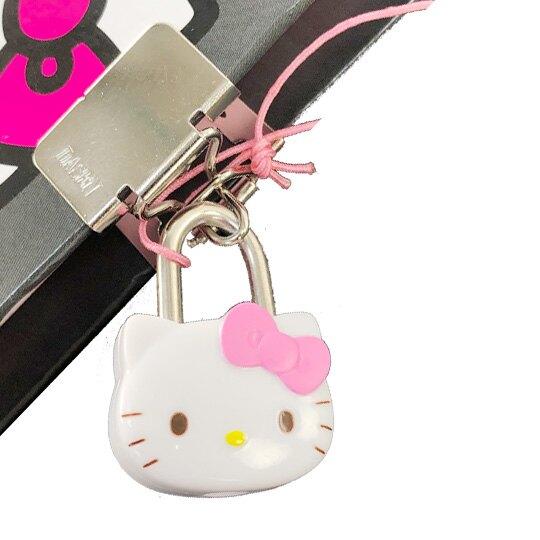 小禮堂 Hello Kitty 迷你硬殼筆記本附造型鎖 橫線記事本 日記本 (桃灰 側身)