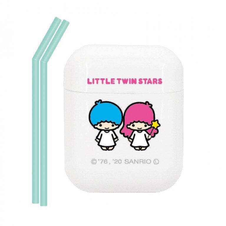 小禮堂 雙子星 攜帶型盒裝矽膠吸管組附吸管刷 環保吸管 彎吸管 (2入 粉綠)