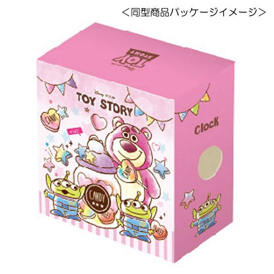 小禮堂 迪士尼 玩具總動員 三角形鬧鐘 塑膠時鐘 桌鐘 (粉 糖果罐)